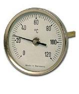 Termometro Bimetalico Bulbo Posterior Rango -50 a 50C Medidas 80x100x6.35mm